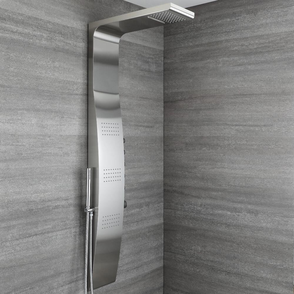 Douches Colonne de douche thermostatique avec pommeau, douchette et buses hydromassantes – Chromé - Select