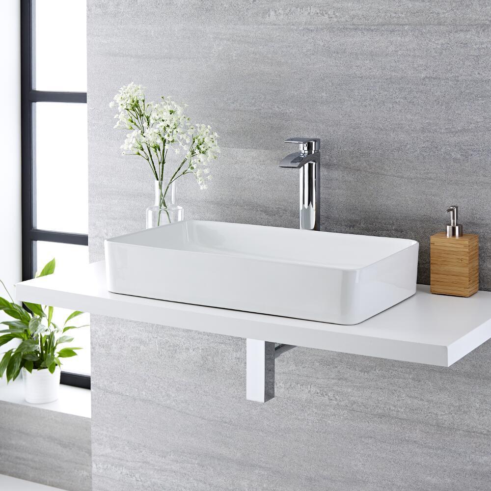 Vasque à poser rectangulaire - 61 x 35 cm - Alswear  & Mitigeur haut - Razor