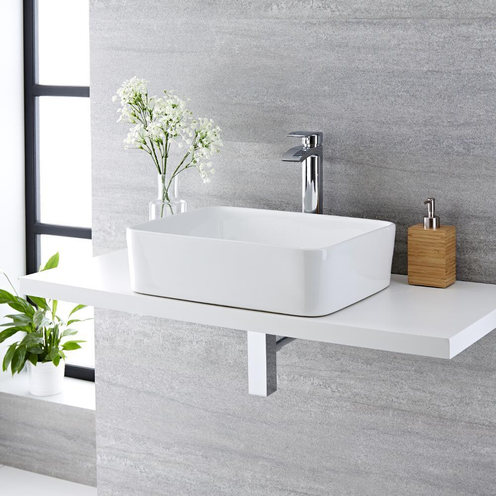 Vasque à poser rectangulaire - 48 x 37 cm - Alswear  & Mitigeur haut - Razor