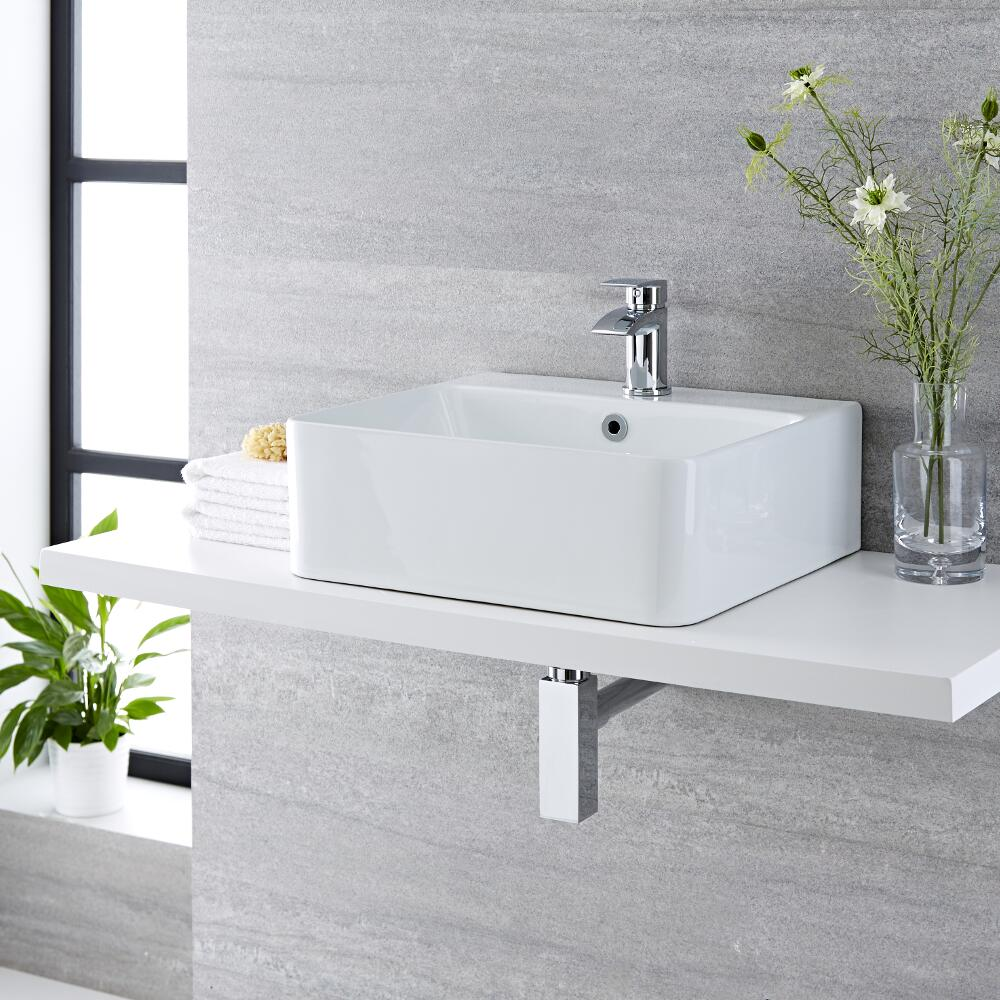 Vasque à poser rectangulaire – 46 cm x 42 cm - Exton & Mitigeur lavabo – Razor