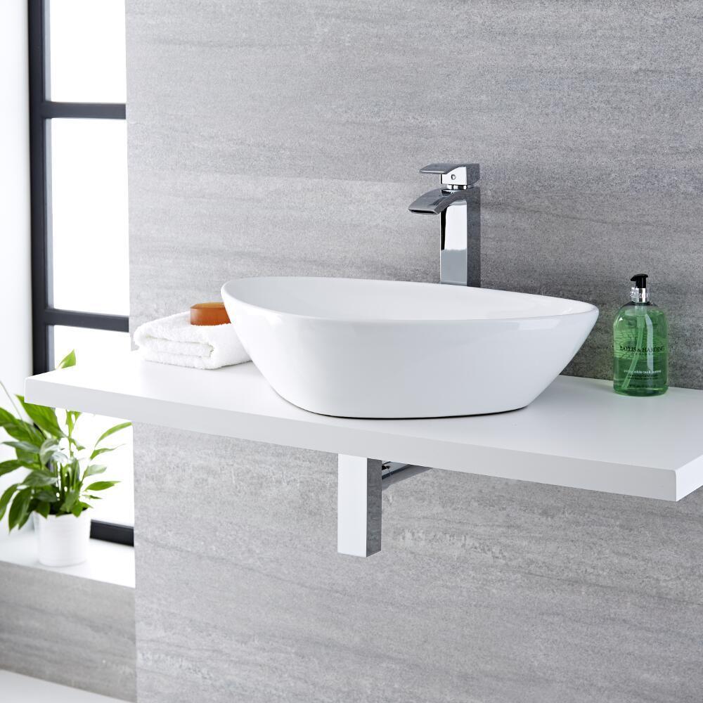Vasque à poser moderne - 59 x 39 cm - Select & Mitigeur haut - Razor