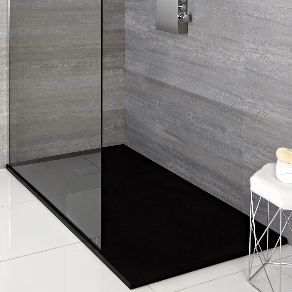 Douches Receveur de douche rectangulaire graphite 100x80cm - Rockwell