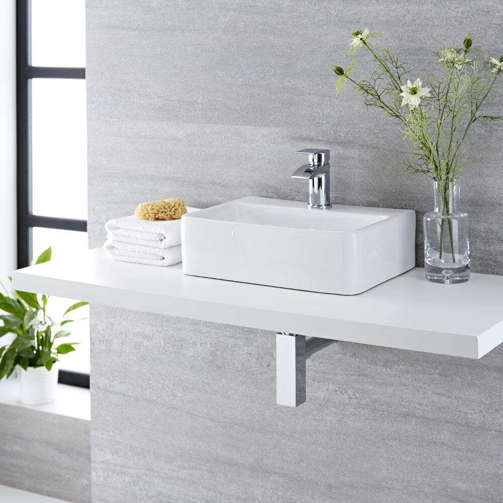 Vasque à poser rectangulaire – 40 cm x 29,5 cm - Exton & Mitigeur lavabo – Razor