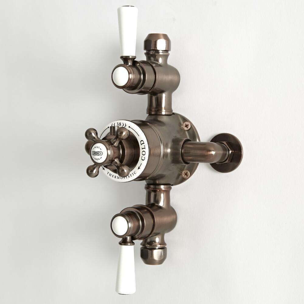 Douches Mitigeur de douche thermostatique rétro exposé à 2 fonctions – Bronze huilé - Elizabeth
