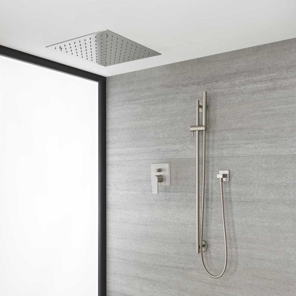 Douches Kit de douche avec pommeau encastré et kit douchette sur rampe – 2 fonctions – Nickel brossé - Aldwick