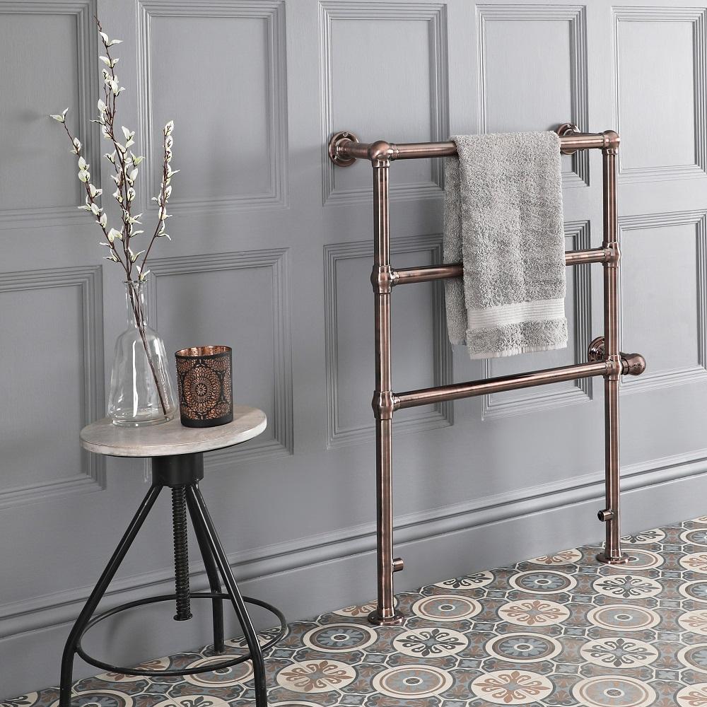 Produits & objets de salle de bain Sèche-serviettes électrique rétro – 96,6 cm x 67,3 cm – Bronze huilé – Condesa