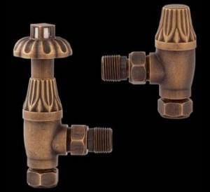 Hudson Reed Robinets de Radiateur Rétro Design Thermostatique en laiton vieilli